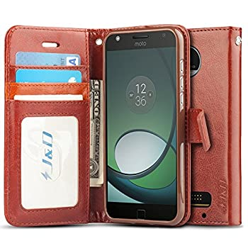 J&D Case Compatible for Moto Z Play Droid Case Wallet Stand Slim Fit Heavy Duty Protective Shockproof Flip Wallet Case for Motorola Moto Z Play Droid Wallet Not for Moto Z2 Play/Z3 Play