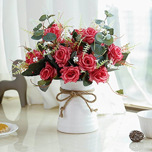 YILIYAJIA Artificial Flowers in Vase Silk Rose Flower Arrangements Fake Faux Flowers Bouquets with Ceramics Vase Table Centerpieces for Dinning Room Table Kitchen Decoration (red)