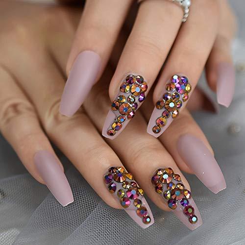 Ballerina Customize Press On Nails Matte Cream Pink Gold Rose Crystal Decoration False Nails Extra Long Coffin Tips