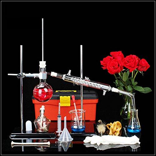 Distiller Distillation Apparatus Lab - Destilador de agua de laboratorio científico para hacer aceites esenciales destilador de alcohol destilador de destilación Kit de 23 juegos (250 ml)