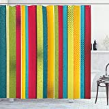 ABAKUHAUS Arco Iris de la Vendimia Cortina de Baño, Las Rayas desiguales, Material Resistente al Agua Durable Estampa Digital, 175 x 200 cm, Multicolor