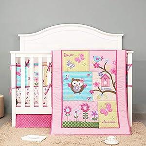 7 Piece Owl Flower Garden Baby Bedding Nursery Crib Sets for Girl – 4Rail Padding Crib Comforter Crib Sheet Dust Ruffle/Pink