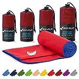 Asciugamano microfibra – in tutte le misure / 16 colori – compatto & ad asciugatura rapida – asciugamani sportivi, asciugamani da mare e asciugamani da viaggio (100x200cm rosso - bordo blu scuro)