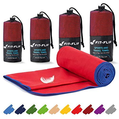 Fit-Flip Mikrofaser Handtücher Set – in Allen Größen / 16 Farben – Ultra leicht & schnelltrocknend – das perfekte Trainingshandtuch, Travel Towel, Strandtuch (100x200cm, Rot mit Dunkelblauen Rand)