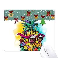 トロピカルフルーツpineappleスタイルサングラス ゲーム用スライドゴムのマウスパッドクリスマス