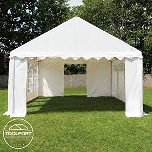 TOOLPORT Party-Zelt Festzelt 4x8 m Garten-Pavillon -Zelt ca. 500g/m² PVC Plane in weiß Wasserdicht - 5
