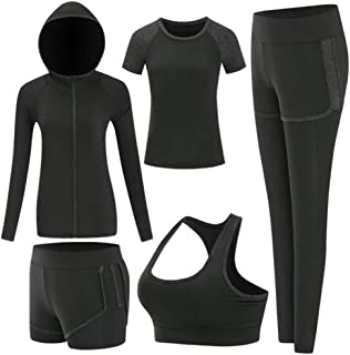 Women's Activewear Set 5 Piece Yoga Jogging Workout Clothes Athletic Tracksuits