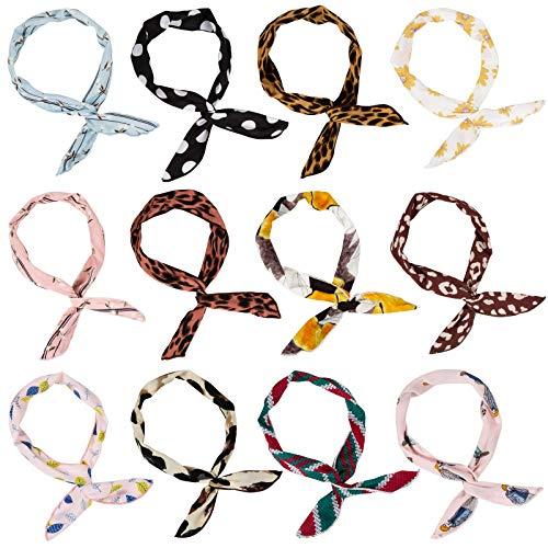 Wodasi 12 Stück Haarband mit Draht, Biegbares Stirnbänder Vintage Twist Bow Wired Stirnbänder Twist Knot Haarband Bögen Eisendraht Hasenohren Stirnband, Haarbänder mit Flexibler Draht, Stil 3