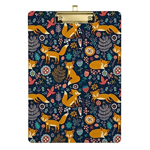 Appunti per appunti con volpe e fiori, per bambini, uomini e donne, ragazza, design alla moda, formato lettera in acrilico, dimensioni standard 31,8 x 22,9 cm (20307287)