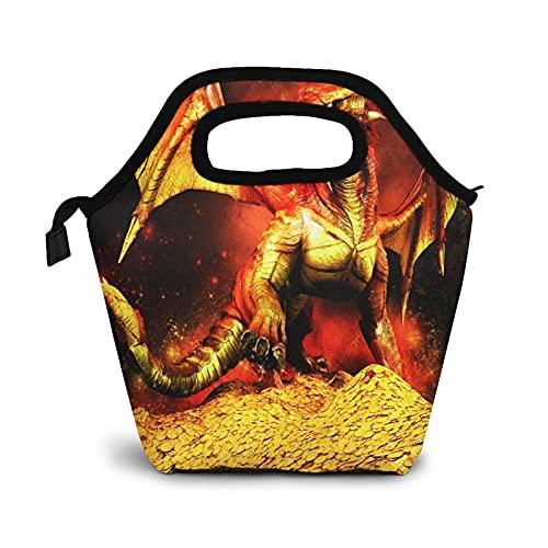 Bolsa Térmica Comida Bolsas De Almuerzo para Mujeres Hombres Niñas Niños Bolsa Isotérmica De Almuerzo Tesoro Rojo Dragón Pila Oro