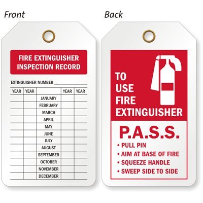 SmartSign 2 Sided Popular standard Fire Limited price Extinguisher Record 2.12 Tag Inspection