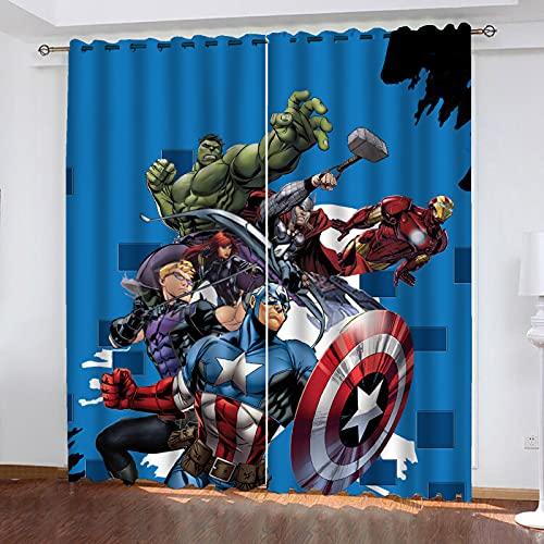 Fgolphd Marvel Avengers, set di tende oscuranti per camera da letto, stampa 3D, Capitan America Iron Man, tende per camera dei bambini, decorazione del soggiorno (220 x 215 x 1)