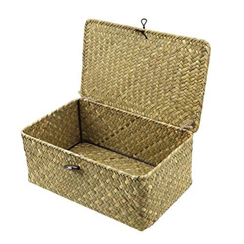 Lioobo, cesto portaoggetti in vimini intrecciato a mano con coperchio per ripiani e cestini di carta, misura L (colore originale)