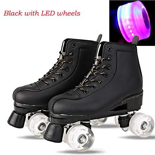 JYH Patines de Ruedas de Cuero Artificial Patines de Doble línea Mujeres Hombres Zapatos de Patinaje de Dos líneas para Adultos con PU 4 Ruedas,Led Wheels,43
