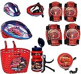 alles-meine.de GmbH Set: Kinderhelm + Fahrradkorb + Fahrradflasche + Fahrradklingel + Schützer - Disney Cars Lightning McQueen - incl. Name - universal auch für Roller und Dreira..