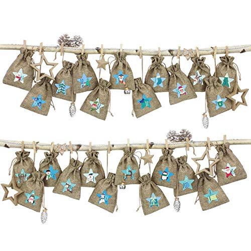 Papierdrachen 24 Adventskalender Stoffsäckchen im Jute Look zum Befüllen - mit blauem Bäkergarn und Klammern - Stoffbeutel zum selber Dekorieren - Geschenksäckchen