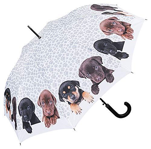 VON LILIENFELD Paraguas de Iluvia Largo Clásico Automático de Alta Grande Estable Perro Cuarteto de Cachorros