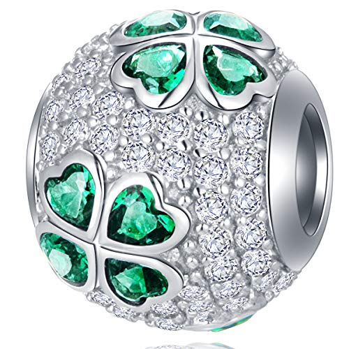 Sparkling Four-Leaf Clover CZ Charms fits Pandora Valentines Day Bracelet - Pave Green Hearts Shamrock Cubic Zirconia Ball Beads in 925 Sterling Silver, Lucky Gifts for Christmas/Mom/Lover/Family