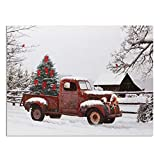 Vintage Red Truck Canvas Wall Art - LED Lighted Picture with Christmas Tree and Old-Fashioned Red Pick-Up Truck Winter Scene - Barn and Farmstead Setting
