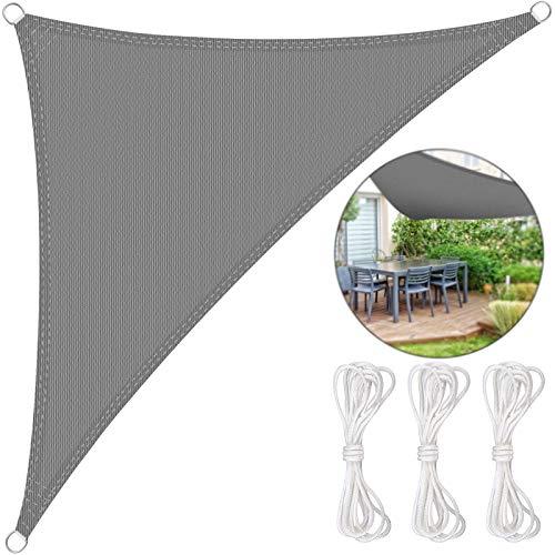 BMOT Wasserfest Sonnensegel Wasserabweisend Imprägniert Wetterschutz 90% UV Schutz für Garten Terrasse und Balkon (3 x 3 x 3m Dreieck)