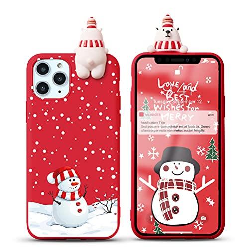 Yoedge Natale Custodia per Apple iPhone 7 Plus / 8 Plus 5,5',Rosso Silicone Matte Cover con Carino 3D Bambola Serie Natalizie,Sottile Antiurto TPU Protezione Case per iPhone 8 Plus,Pupazzo di neve 1