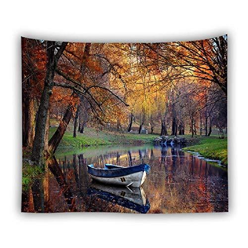 Naturaleza paisaje tapiz colgante de pared paisaje bosque montaña río Boho decoración hogar pared tapices alfombra manta 150X200CM