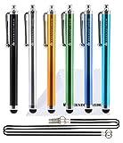 The Friendly Swede Pack de 6 Lápices Táctiles Universales para Pantalla Táctil (Longitud: 11,5 cm) + 2 Cordones Elásticos + Paño en Microfibra - GARANTÍA DE POR VIDA (Negro,Plateado,Dorado,Celeste,Azul,Verde)
