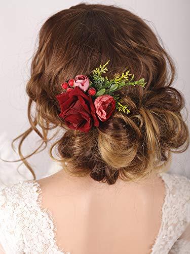 Kercisbeauty Braut-Haarkamm, rote Rose, Samt, Blume, Hochzeit, Haarteil-Set, Haarspange, Abendgesellschaft, Haar-Accessoires für Frauen und Mädchen