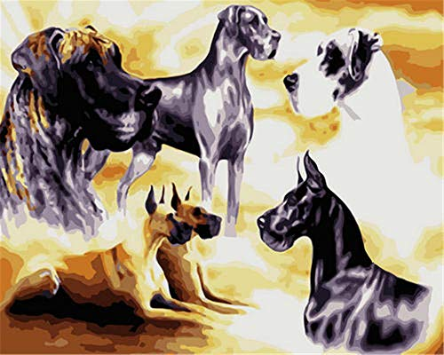 N\A Painting By Numbers Paintings Diy Preprinted Canvas For Friend Adults Children Seniors Junior Animals, group of dogs 40X50CM