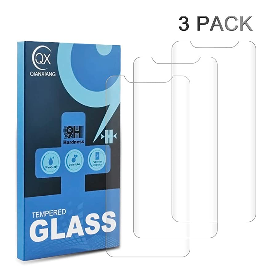 QIANXIANG HD Screen Protector,Compatible with iPhone X/XS 3 Pack for use 3D Touch Transparent Tempered Glass Screen Protector.