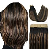 Tape in Hair Extensions Ombre Natural Black to Chestnut Brown, Balayage Remy Hair Extensions, Human Hair 14 Inch 20pcs 50g,Remy Hair Extensions, Seamless Skin Weft Real Tape in Hair Extensions