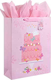 """16.5"""" Extra Large Gift Bag with Tissue Paper for Girls (Happy Birthday Cake)"""