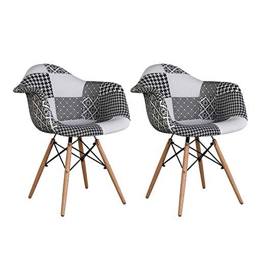 PovKeever Stuhl Esszimmerstuhl Patchwork Design Klassiker Patchwork Sessel Retro Barstuhl Wohnzimmer Küchen Stuhl Esszimmer Sitz Holz Leinen (Schwarz Weiss)