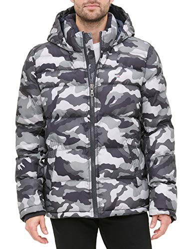 Tommy Hilfiger Men's Classic Hooded Puffer Jacket (Standard and Big & Tall), Grey camouflage, Large