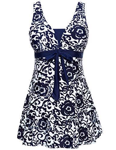 Wantdo Women's Push Up Swimsuit Tankini Matching Swimwear Beachwear Navy US 12-14