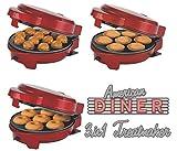 Melissa 3en 1Donut Muffin et de Popcake Maker 3plaques interchangeables Rouge métallisé