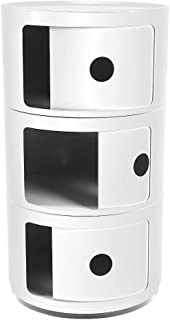 Bedside Table, Three Tiers Drawer Modern Furniture Color Plastic Bedside Cabinet Nightstand Multifunctional Circle Storage Table, 22.812.612.6in(White)