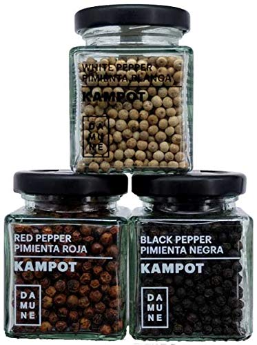 Pimienta Kampot Premium en grano: Negra (60g), Blanca (60g) y Roja (60g)