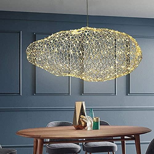 Lámpara colgante nórdica LED estrellada, lámpara colgante, cubierta de malla de alambre, luz de techo en la nube, candelabro, bar, balcón, sala de estar, comedor, restaurante, decoración, iluminación