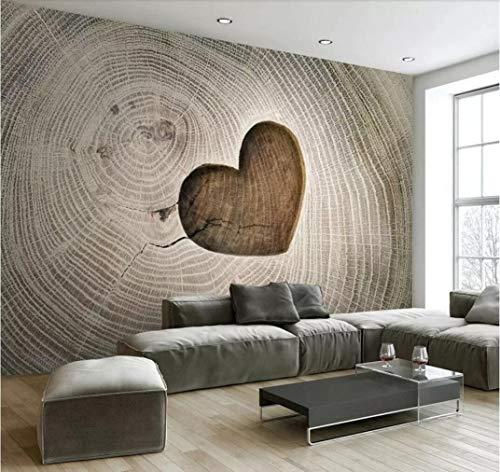 Fototapete 3D Effekt Kreatives Herz formte openwork Holzmaserung-Hintergrundwand Tapete Vliestapete Wandbilder Wanddeko