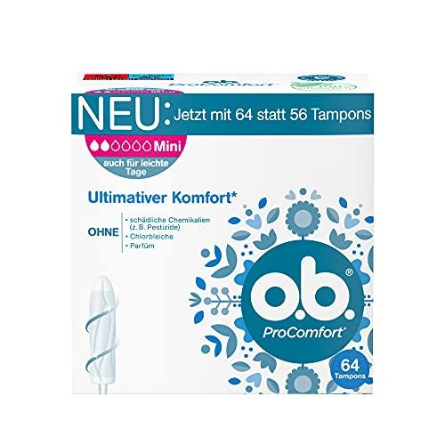 o.b. ProComfort Mini,Tamponsfürleichtebismittlere TagemitDynamic FitTechnologie& SilkTouch Oberfläche, für ultimativen Komfort* &zuverlässigenSchutz(1 x 64 Stück)