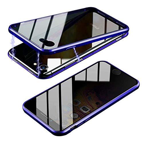Funda para iPhone 6 Plus / 6S Plus, Anti-Spy Carcasa Fundas Magnética Cubierta de Trasera de Vidrio Templado Transparente con Metal Parachoque Imanes Incorporados 360 Grados - Azul