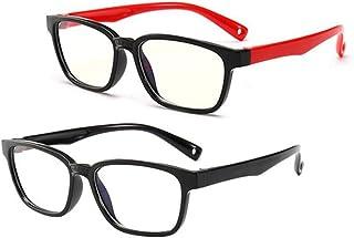 Blue Light Glasses Kids Girls, Blue Blocking Glasses for Teens Square Flexible Strap Anti-Eyestrain Headache and UV Glare, Kids Glasses Frames Boys 2 Pack Age 3-12(Black Red+Black)