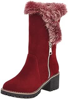 MisaKinsa Women Warm Short Boots Round Toe Faux Fur Boots