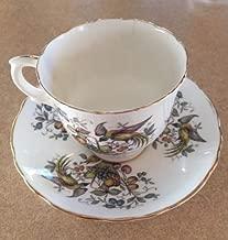 Vintage Crown Fine Bone China Staffordshire England Fruit & Birds Pattern Tea Cup and Saucer Set