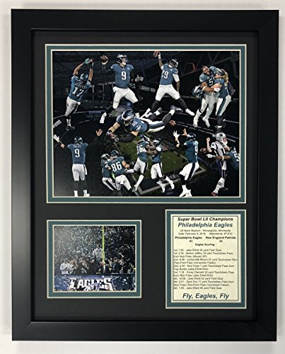 "Legends Never Die Philadelphia Eagles Super Bowl 52 NFL Champions Collectible | Framed Photo Collage Wall Art Decor - 12""x15"""