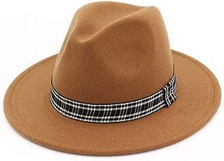 Lei Zhang Women Men Wool Fedora Hat With Striped Satin Wide Brim Wool Church Fascinator Hat Panama Jazz Hat