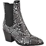 Fashion thirsty Mujer Botines de Tirar Occidental en Punta Medio Alto Zapatos Tacón en Bloque por Heelberry - Carbón Serpiente Piel Sintética, 37