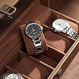SONGMICS Boîte à montres avec 6 emplacements, Coffret pour montres, Support de rangement bijoux, en verre, avec coussins, 30 x 11 x 8 cm, Marron Effet Bois JWB006K01