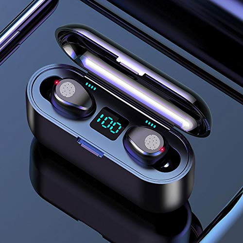 SHOP-STORY - Auriculares estéreo inalámbricos con Bluetooth V5.0 con Power Bank, color negro